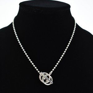 """GUCCI Sterling Silver Beaded """"GG"""" Logo Necklace or"""